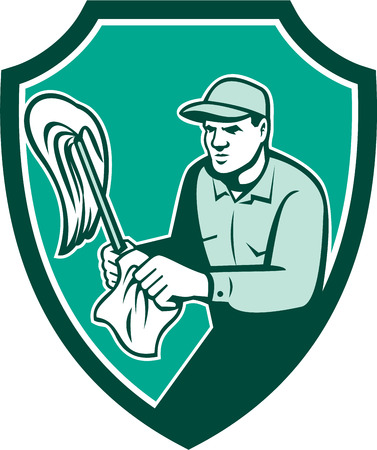 cleaning cloth: Illustration of a janitor cleaner worker standing holding mop and cleaning cloth wipes set inside shield crest on isolated background done in retro style. Illustration