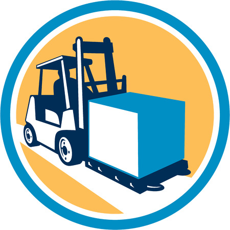 Illustration of a forklift truck and driver at work lifting handling box crate set inside circle on isolated background done in retro style. Illustration