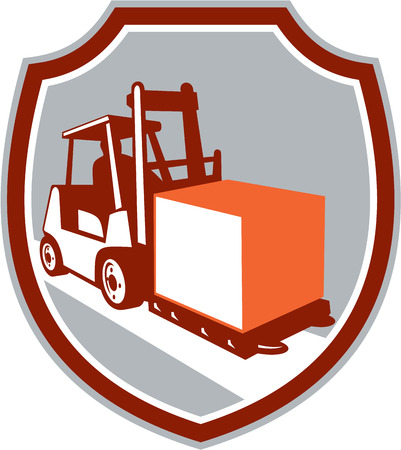 forklift truck: Illustration of a forklift truck and driver at work lifting handling box crate set inside circle on isolated background done in retro style. Illustration