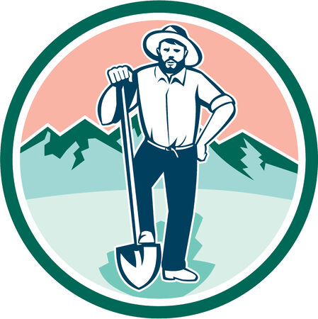 prospector: Illustration of a gold digger miner prospector with shovel spade set inside circle with mountains in background done in retro style. Illustration