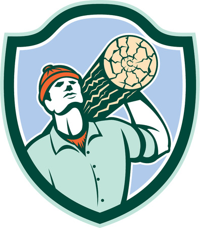 logger: Illustration of a logger forester carrying a log of wood on shoulder looking up set inside shield crest on isolated background done in retro style. Illustration