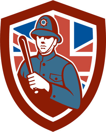 nightstick: Illustration of a British London bobby police officer policeman man wielding truncheon or baton also called cosh, billystick, billy club, nightstick, sap, stick set inside shield crest with Union Jack flag in background done in retro style.
