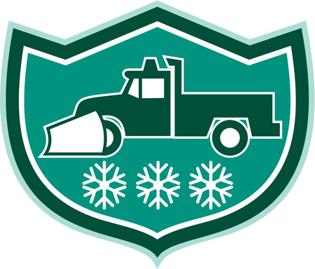 plow: Illustration of a snow plow truck with snowflakes set inside shield crest  on isolated background done in retro style.