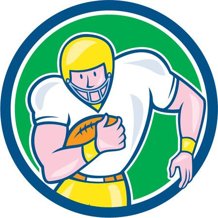 gridiron: Ilustraci�n de una pelota de f�tbol jugador parrilla fullback celebraci�n americana visto de frente fij� el c�rculo interior en aislados