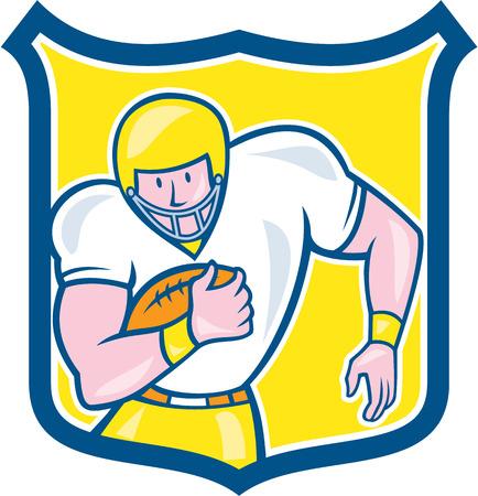 gridiron: Ilustraci�n de una pelota de f�tbol jugador parrilla fullback celebraci�n americana visto de frente fij� el escudo interior en aislados
