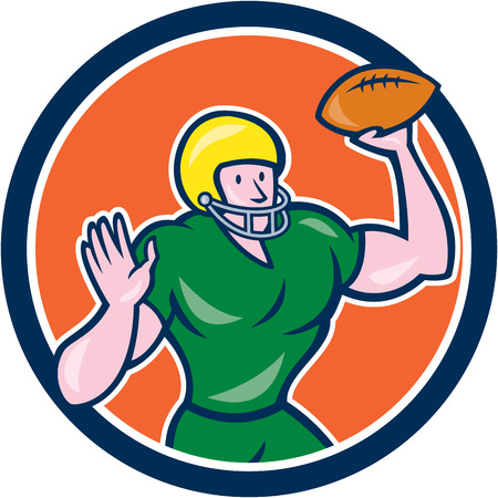 quarterback: Illustration of an american football gridiron quarterback qb throwing ball set inside circle on isolated