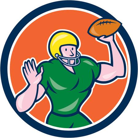 gridiron: Ilustraci�n de un americano qb mariscal de campo de f�tbol f�tbol bola que lanza establece dentro del c�rculo en aislado
