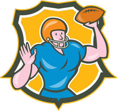 throwing: Illustration of an american football gridiron quarterback qb throwing ball set inside shield crest on isolated