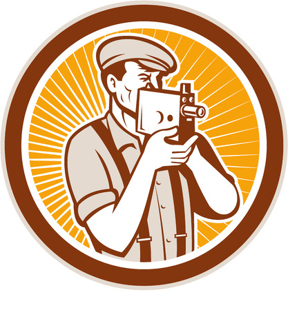 suspenders: Illustration of a photographer wearing hat and suspenders shooting aiming with vintage camera set inside circle done in retro style.