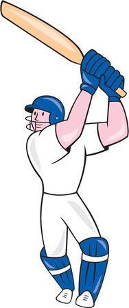 batsman: Illustration of a cricket player batsman with bat batting done in cartoon style on isolated white background. Illustration