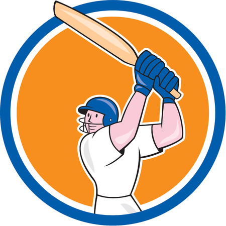 batsman: Illustration of a cricket player batsman with bat batting set inside circle on isolated background done in cartoon style.