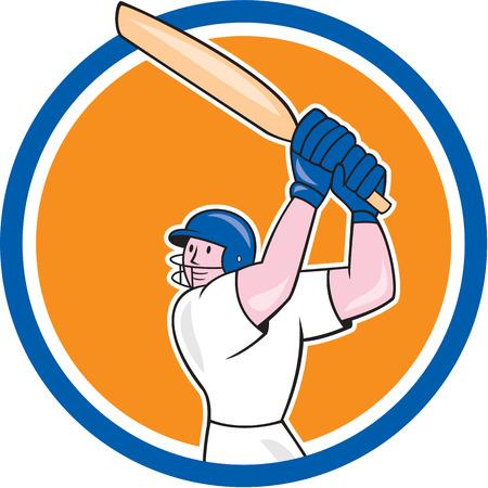 bateo: Ilustraci�n de un bateador del jugador del grillo con el palo de bateo conjunto dentro del c�rculo en el fondo aislado hecho en estilo de dibujos animados.