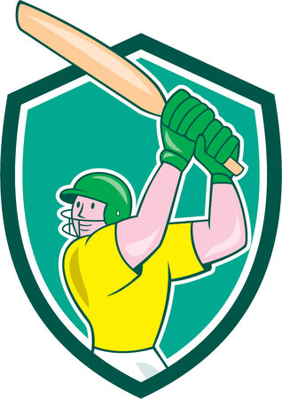 batsman: Illustration of a cricket player batsman with bat batting set inside shield crest on isolated background done in cartoon style.