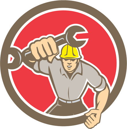 spaner: Illustration of a mechanic running holding spanner wrench pumping fist set inside circle on isolated background done in retro style. Illustration