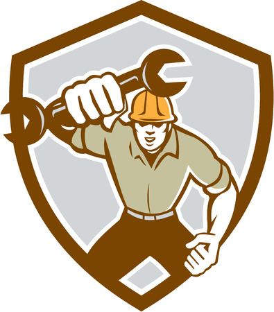 spaner: Illustration of a mechanic running holding spanner wrench pumping fist set inside shield crest on isolated background done in retro style.