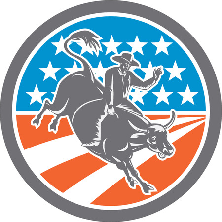 bucking bull: Illustration of rodeo cowboy riding bucking bull set inside circle with american stars and stripes flag in the background done in retro style.