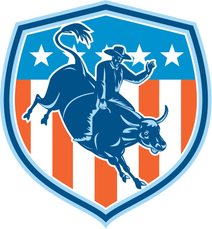 bucking bull: Illustration of rodeo cowboy riding bucking bull set inside shield crest with american stars and stripes flag in the background done in retro style.