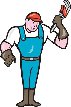 monkey wrench: Illustration of a plumber in overalls and hat standing holding monkey wrench set on isolated white background done in cartoon style.