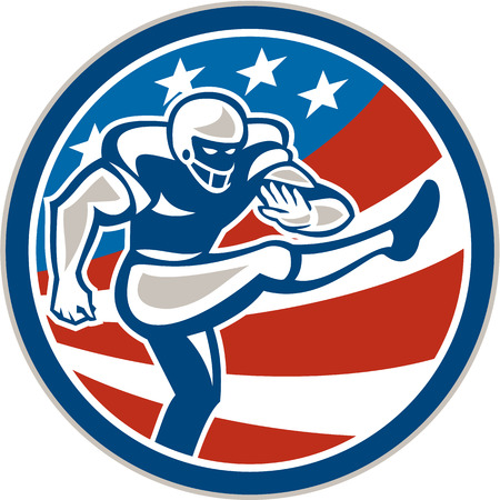 Illustration of an american football gridiron player placekicker kicking set inside circle with stars and stripes in the background done in retro style.