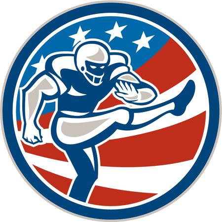 gridiron: Ilustraci�n de un jugador de f�tbol campo de f�tbol americano patadas pateador establece dentro del c�rculo con estrellas y rayas en el fondo hecho en estilo retro.