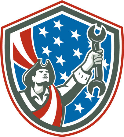 Illustration of an american mechanic patriot holding wrench spanner set inside shiekld with usa stars and stripes in the background done in retro style. Illustration