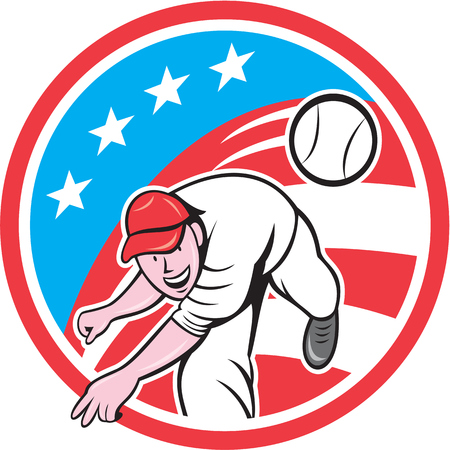 outfielder: Illustration of an american baseball player pitcher outfilelder throwing ball set inside circle with usa stars and stripes flag in the background done in cartoon style.
