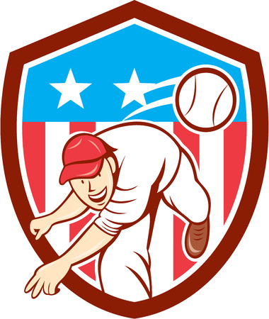 Illustration of an american baseball player pitcher outfilelder throwing ball set inside shield crest with american stars and stripes flag in the background done in cartoon style. Vector