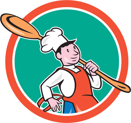 over the shoulder: Illustration of a chef cook marching holding spoon over shoulder set inside circle on isolated background done in cartoon style.