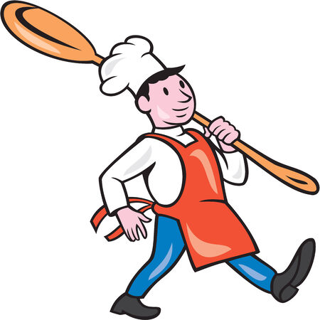 over the shoulder: Illustration of a chef cook marching holding spoon over shoulder on isolated white background done in cartoon style.