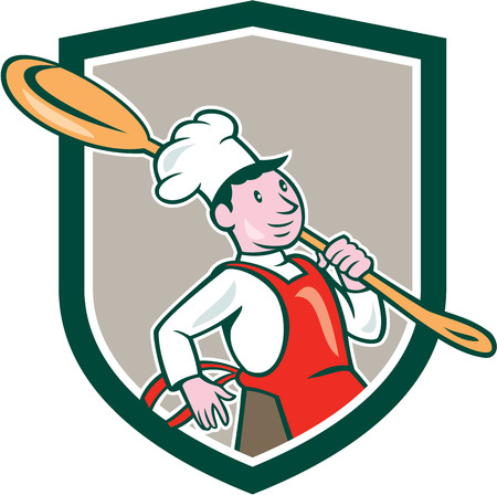 over the shoulder: Illustration of a chef cook marching holding spoon over shoulder set inside shield crest on isolated background done in cartoon style. Illustration