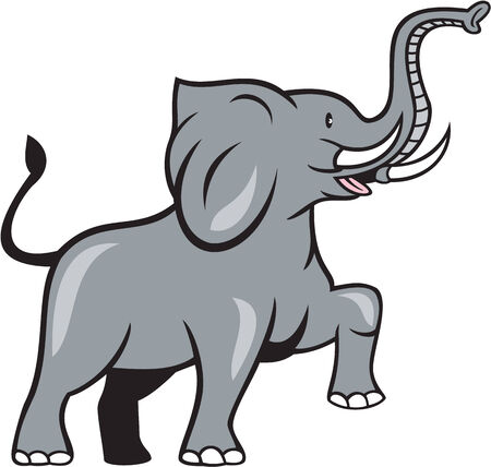 Illustration of an african elephant marching prancing viewed from the side on isolated white background done in cartoon style.