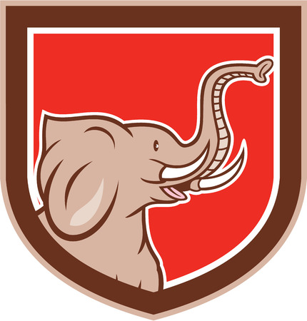 pachyderm: Illustration of an elephant head with tusks viewed from the side set inside shield crest on isolated background done in cartoon style.