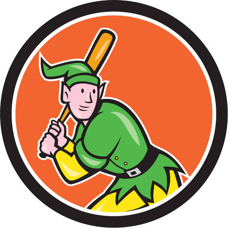 hitter: Illustration of an elf  baseball player batter hitter batting with bat done in cartoon style set inside circle on isolated background.