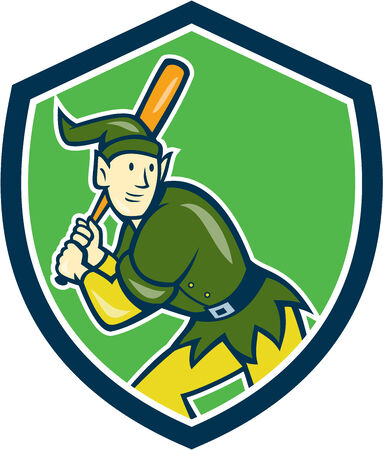 hitter: Illustration of an elf  baseball player batter hitter batting with bat done in cartoon style set inside shield crest on isolated background.