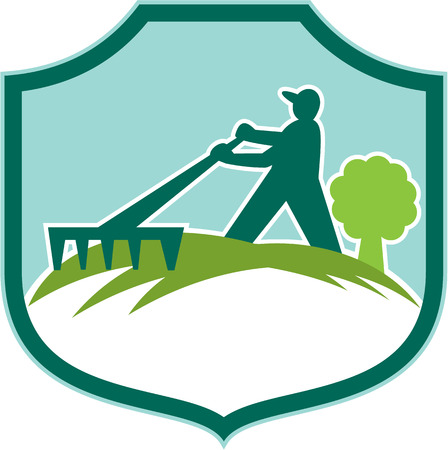 horticulturist: Illustration of male gardener landscaper horticulturist with rake set inside shield crest on isolated background done in retro style.