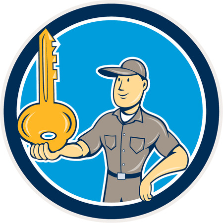 Illustration of a locksmith standing balancing key on palm hand set inside circle on isolated background done in cartoon style.