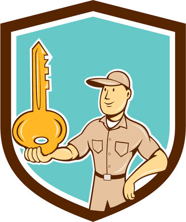 Illustration of a locksmith standing balancing key on palm hand set inside shield crest on isolated background done in cartoon style. Illustration
