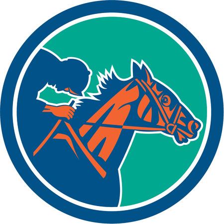 caballos corriendo: Ilustraci�n de caballo y jinete de carreras se ve desde el lado de conjunto dentro del c�rculo en el fondo aislado hecho en estilo retro.