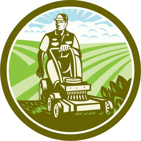 Illustratie van een tuinman rijden op een vintage ride-on grasmaaier set binnen cirkel met veld boerderij wolken zonnestraal op de achtergrond gedaan in retro stijl.
