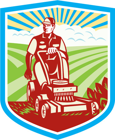 mow: Illustration of a gardener riding on a vintage ride-on lawn mower set inside shield crest with grass field farm clouds sunburst in the background done in retro style. Illustration