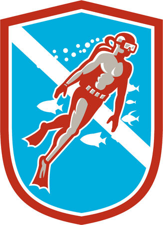 set going: Illustration of a scuba diver diving swimming going up set inside shield crest with fish in the background done in retro style.