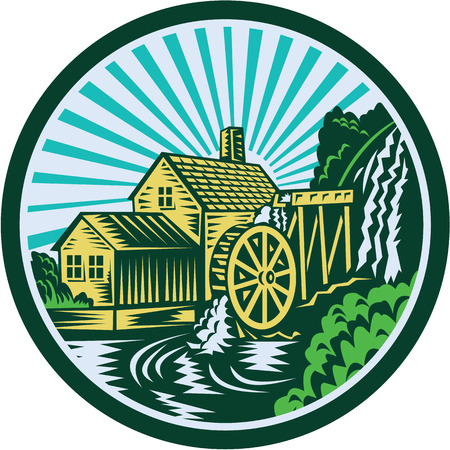 watermill: Illustration of a house with watermill falls river set inside circle with sunburst in the background done in retro woodcut style.