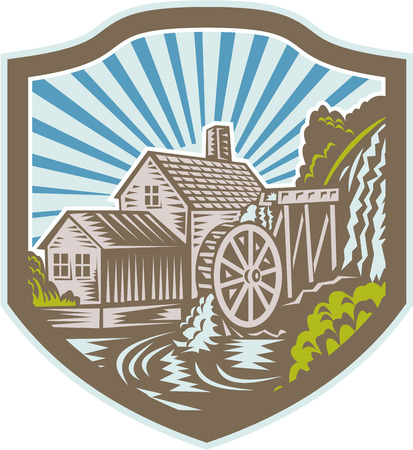 watermill: Illustration of a house with watermill falls river set inside shield with sunburst in the background done in retro woodcut style.