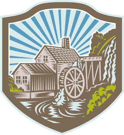 molino de agua: Ilustración de una casa con molino de agua cae conjunto río dentro de escudo con rayos de sol en el fondo hecho en estilo retro grabado en madera.