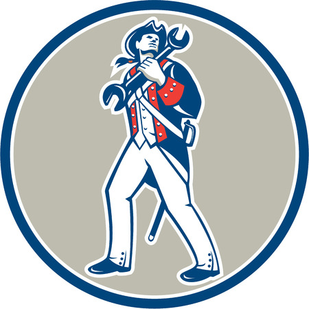 american revolution: Illustration of an american mechanic patriot holding wrench spanner marching set inside circle on isolated background done in retro style. Illustration