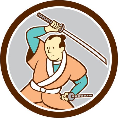 guerrero samurai: Ilustraci�n de un guerrero samurai blandiendo espada katana mira a la cara fij� el c�rculo interior en el fondo aislado hecho en estilo de dibujos animados.