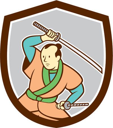 guerrero samurai: Ilustraci�n de un guerrero samurai blandiendo espada katana mira a la cara conjunto dentro cresta escudo sobre fondo aislado hecho en estilo de dibujos animados.