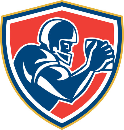 american football helmet set: Illustration of an american football player with helmet holding ball viewed from the side set inside shield crest on isolated background done in retro style.