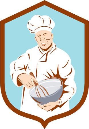 Illustration of a baker chef cook with hat holding a mixing bowl viewed from front set inside shield crest done in retro style on isolated background. Vector
