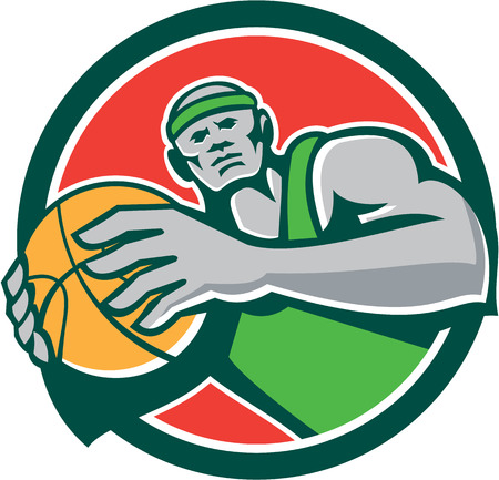 baller: Illustration of a basketball player holding showing ball facing front set inside circle shape on isolated background done in retro style.